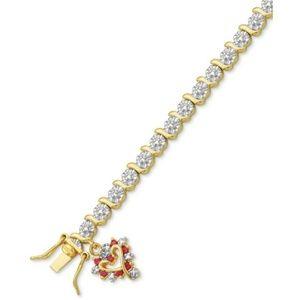 Diamond Accent & Red Heart Charm Bracelet